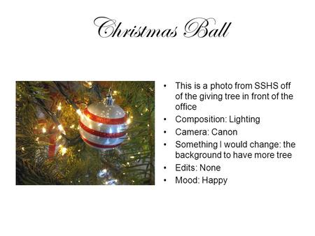 Christmas Ball This is a photo from SSHS off of the giving tree in front of the office Composition: Lighting Camera: Canon Something I would change: the.