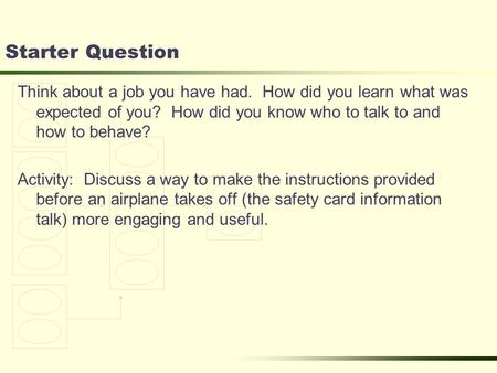 Starter Question Think about a job you have had. How did you learn what was expected of you? How did you know who to talk to and how to behave? Activity: