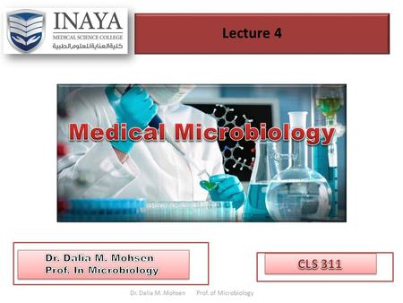 Lecture 4 Dr. Dalia M. Mohsen Prof. of Microbiology.