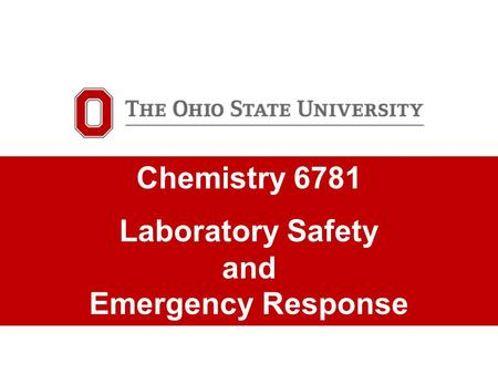 TITLE SLIDE GOES HERE Optional subhead would go here Chemistry 6781 Laboratory Safety and Emergency Response.