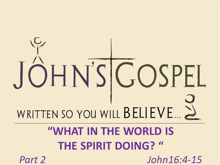"""WHAT IN THE WORLD IS THE SPIRIT DOING? "" Part 2 John16:4-15."