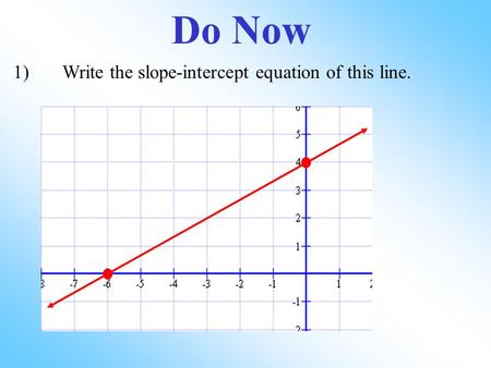 Do Now 1)Write the slope-intercept equation of this line.