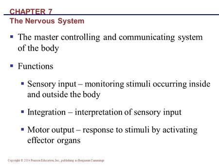 Copyright © 2004 Pearson Education, Inc., publishing as Benjamin Cummings CHAPTER 7 The Nervous System  The master controlling and communicating system.