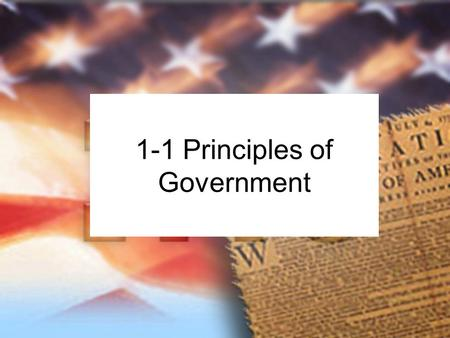 "1-1 Principles of Government. State: Synonym: country. ""Political community that occupies a definite territory and has an organized government with the."