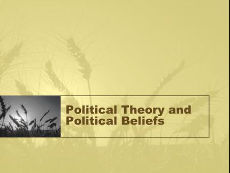 "Political Theory and Political Beliefs. Political Behavior of the Individual ""Micropolitics"" The political ideologies, beliefs, and actions of an individual."