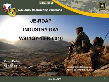 JE-RDAP INDUSTRY DAY W911QY-16-R-0010 Kevin Parker 08 DEC 2015