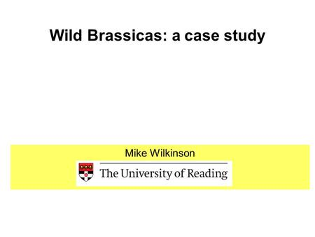 Wild Brassicas: a case study Mike Wilkinson. The risk assessment process 1.Specify and rank the hazards 2.Quantify generic aspects of exposure 3.Evaluate.