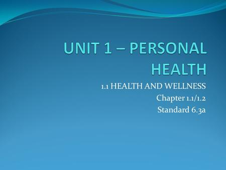 1.1 HEALTH AND WELLNESS Chapter 1.1/1.2 Standard 6.3a.