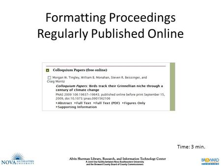 Formatting Proceedings Regularly Published Online Time: 3 min.