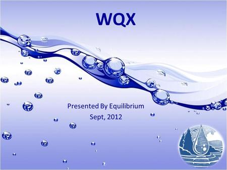 Presented By Equilibrium Sept, 2012 WQX. Purpose 1.Demonstrate the ability to utilize STORET/WQX 2.Submit water quality data to database for sharing with.