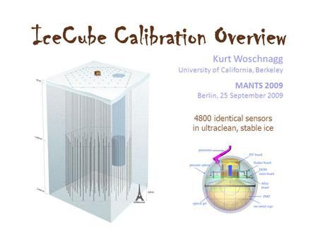 IceCube Calibration Overview Kurt Woschnagg University of California, Berkeley MANTS 2009 Berlin, 25 September 2009 4800 identical sensors in ultraclean,