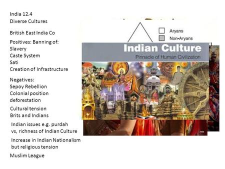 India 12.4 Diverse Cultures British East India Co Positives: Banning of: Slavery Caste System Sati Creation of Infrastructure Negatives: Sepoy Rebellion.