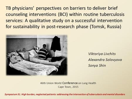 TB physicians' perspectives on barriers to deliver brief counseling interventions (BCI) within routine tuberculosis services: A qualitative study on a.