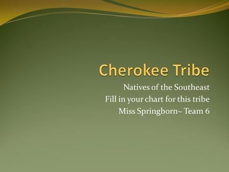 Natives of the Southeast Fill in your chart for this tribe Miss Springborn~ Team 6.