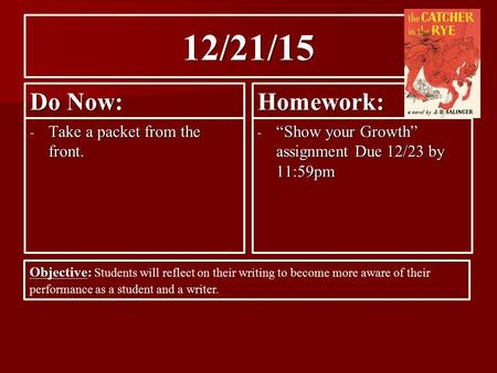 "12/21/15 Do Now: - Take a packet from the front. Homework: - ""Show your Growth"" assignment Due 12/23 by 11:59pm Objective: Objective: Students will reflect."