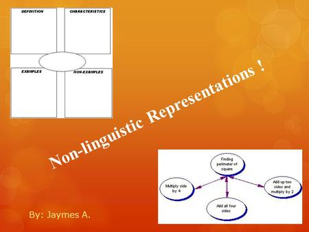 Non-linguistic Representations ! By: Jaymes A.. Why just talk about it?!?!  Of course talking about a topic can ensure a teacher that a student understands.