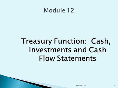 Treasury Function: Cash, Investments and Cash Flow Statements Convery 20131.