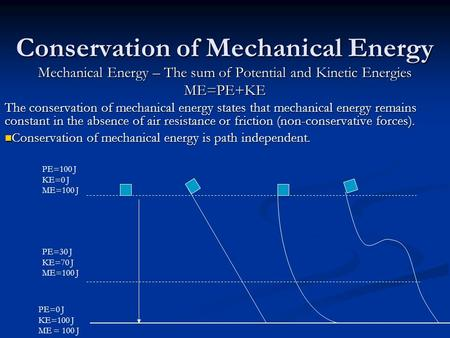 Conservation of Mechanical Energy Mechanical Energy – The sum of Potential and Kinetic Energies ME=PE+KE The conservation of mechanical energy states that.