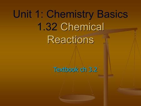 Chemical Reactions Unit 1: Chemistry Basics 1.32 Chemical Reactions Textbook ch 3.2.
