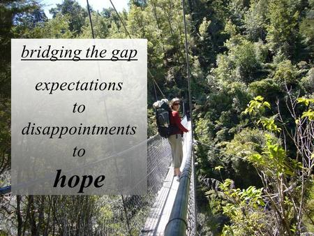 Bridging the gap expectations to disappointments to hope.