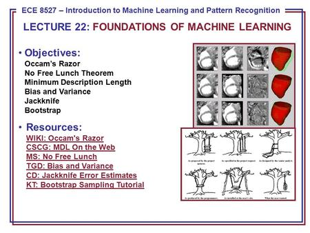 ECE 8443 – Pattern Recognition ECE 8527 – Introduction to Machine Learning and Pattern Recognition Objectives: Occam's Razor No Free Lunch Theorem Minimum.