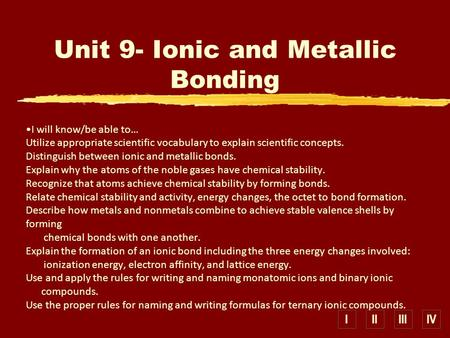IIIIIIIV I will know/be able to… Utilize appropriate scientific vocabulary to explain scientific concepts. Distinguish between ionic and metallic bonds.
