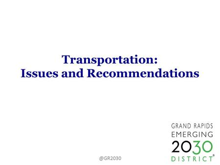 Transportation: Issues and