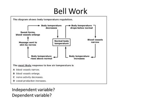 Bell Work Independent variable? Dependent variable?