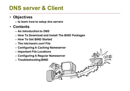 DNS server & Client Objectives –to learn how to setup dns servers Contents –An Introduction to DNS –How To Download and Install The BIND Packages –How.