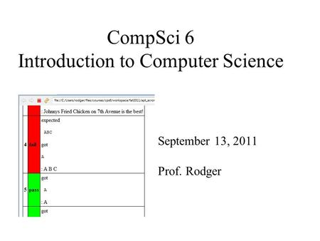 CompSci 6 Introduction to Computer Science September 13, 2011 Prof. Rodger.