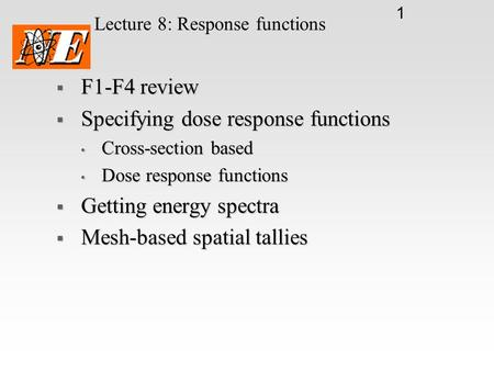 Lecture 8: Response functions