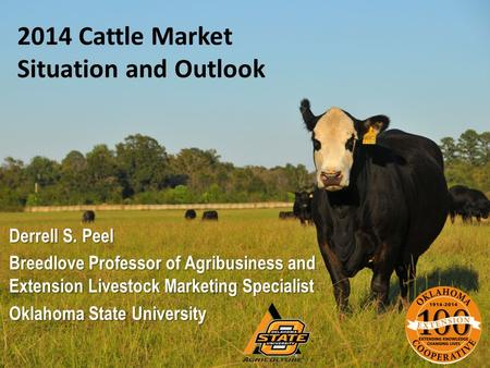 2014 Cattle Market Situation and Outlook Derrell S. Peel Breedlove Professor of Agribusiness and Extension Livestock Marketing Specialist Oklahoma State.