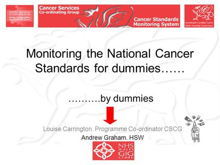 Monitoring the National Cancer Standards for dummies…… ……….by dummies Louise Carrington. Programme Co-ordinator CSCG Andrew Graham. HSW.