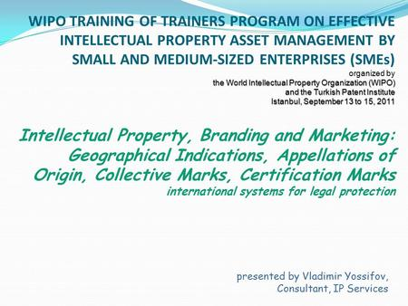 The World Intellectual Property Organization (WIPO) and the Turkish Patent Institute Istanbul, September 13 to 15, 2011 WIPO TRAINING OF TRAINERS PROGRAM.