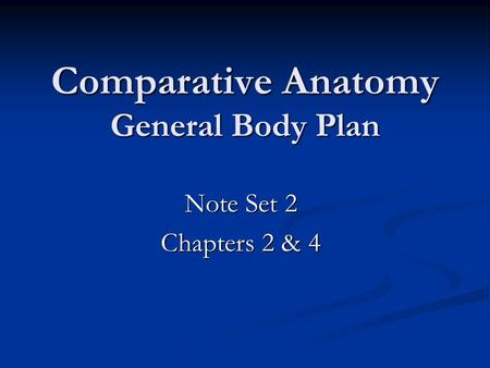 Comparative Anatomy General Body Plan Note Set 2 Chapters 2 & 4.