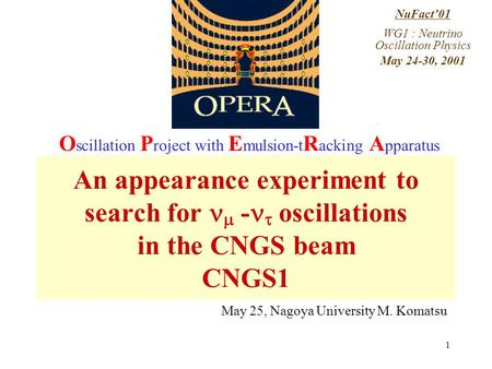 1 NuFact'01 WG1 : Neutrino Oscillation Physics May 24-30, 2001 An appearance experiment to search for  -  oscillations in the CNGS beam CNGS1 O scillation.