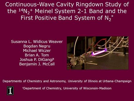 Continuous-Wave Cavity Ringdown Study of the 14 N 2 + Meinel System 2-1 Band and the First Positive Band System of N 2 * Departments of Chemistry and Astronomy,