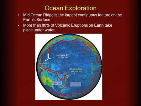 Ocean Exploration Mid Ocean Ridge is the largest contiguous feature on the Earth's Surface. More than 80% of Volcanic Eruptions on Earth take place under.