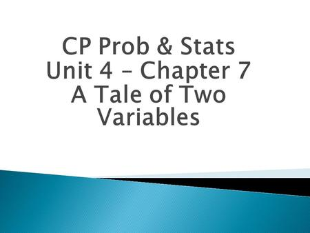 CP Prob & Stats Unit 4 – Chapter 7 A Tale of Two Variables.