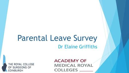 Parental Leave Survey Dr Elaine Griffiths. Parental Leave Survey  Total 1225 Responses aged between 31- 50 yrs  All Specialities/LETB's/Deaneries represented.