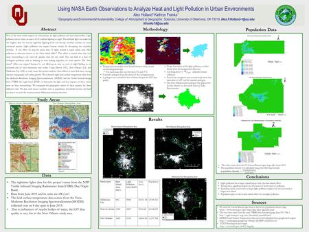 Using NASA Earth Observations to Analyze Heat and Light Pollution in Urban Environments Alex Holland 1 Kathryn Franks 1 1 Geography and Environmental Sustainability,