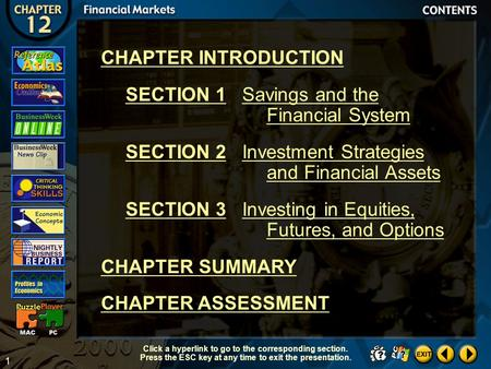 1 Contents CHAPTER INTRODUCTION SECTION 1Savings and the Financial System SECTION 2Investment Strategies and Financial Assets SECTION 3Investing in Equities,
