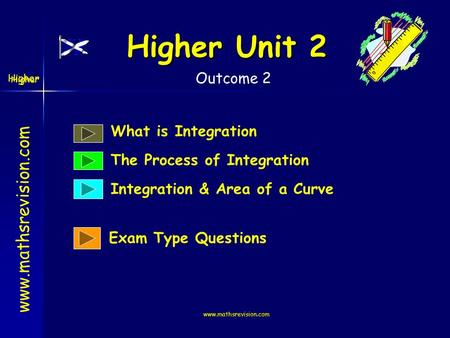 www.mathsrevision.com Higher Higher Unit 2 www.mathsrevision.com What is Integration The Process of Integration Integration & Area of a Curve Exam Type.