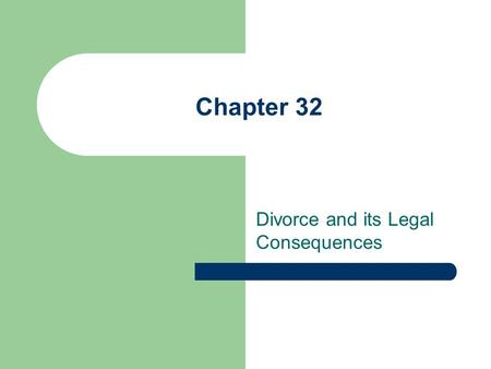 Chapter 32 Divorce and its Legal Consequences. Ending a Marriage Death Annulment (never effective) Legal Separation and Divorce.