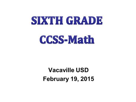 Vacaville USD February 19, 2015