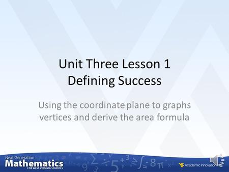 Unit Three Lesson 1 Defining Success Using the coordinate plane to graphs vertices and derive the area formula.