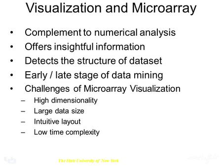 University at BuffaloThe State University of New York Visualization and Microarray Complement to numerical analysis Offers insightful information Detects.