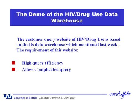 University at BuffaloThe State University of New York The Demo of the HIV/Drug Use Data Warehouse The customer query website of HIV/Drug Use is based on.