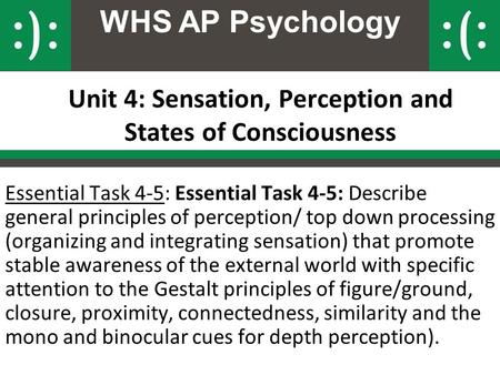 Unit 4: Sensation, Perception and States of Consciousness