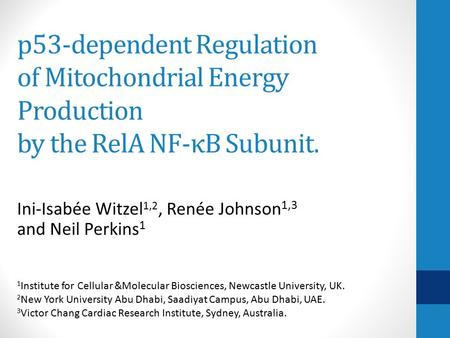 P53-dependent Regulation of Mitochondrial Energy Production by the RelA NF-κB Subunit. Ini-Isabée Witzel 1,2, Renée Johnson 1,3 and Neil Perkins 1 1 Institute.